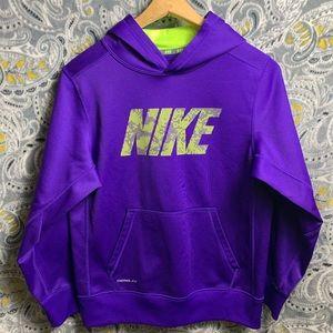 NIKE Kids Therma Fit Hoodie Large purple&green